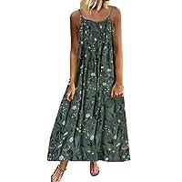 Women's Casual Daily Women Vintage Bohemian Print Floral Sleeveless O-Neck Straps Maxi Dress (Green, L)