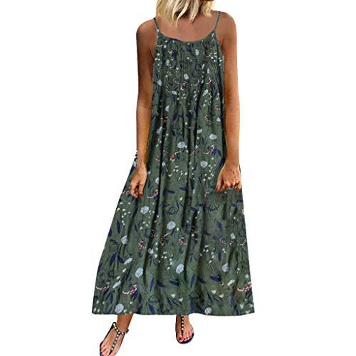 Innerternet Robe Maxi à Bretelles Longue Femme ete sans Manches Boheme Chic Tunique Pas Cher Vintage Col V Splicing Floral imprimé élégante Dress Grande Taille Robes de Soiree Plage (5XL, A Vert)
