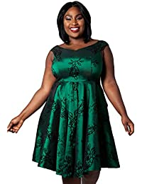 cc36bc49f167db VOODOO VIXEN Womens Lily Green Taffeta Flared Plus Size Dress 60s Style  Outfit Full Skirt A