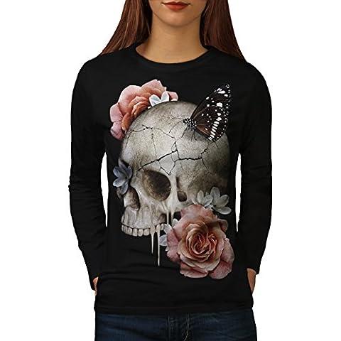 Skull Rose Flowers Concert Art Women NEW Black M Long