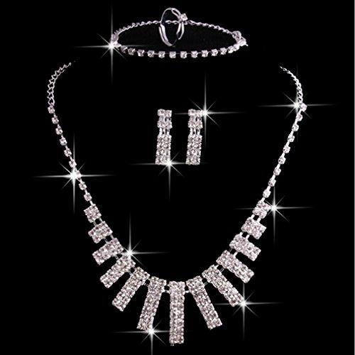 LnLyin Hochzeitsschmuck Set SchmetterlingTropfen Halskette Ohrringe Armband Set Damen Schmuck Set