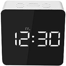 Decdeal - Led Espejo Reloj Digital con Termómetro de Interior, 12h/24h Alarma y