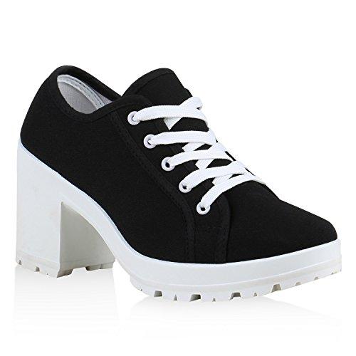Stiefelparadies Damen Ankle Boots Plateau Stiefeletten Profilsohle Schnürstiefeletten High Heels Schuhe Schnür-Halbschuhe 126254 Schwarz Weiss Weiss 38 Flandell
