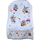 Uber World Baby Kids Toddlers Cotton Towel One Sided Terry Absorbent Cute Bunny Super Soft, 89 by 50.8 CMS,Sky Blue, Pack of