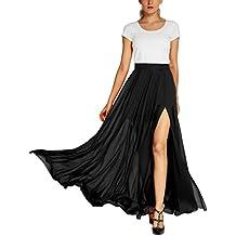 Urban GoCo Mujeres Elegante Fiesta Noche Largo Falda Flowy Side Split Maxi falda