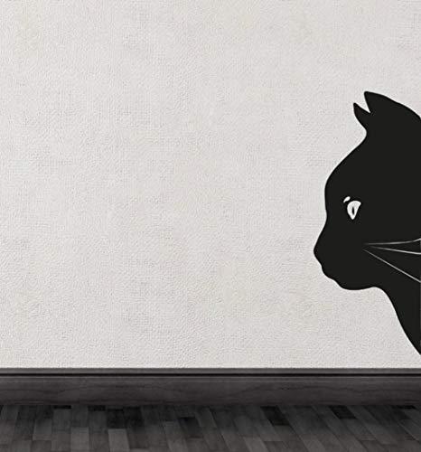 XCSJX Black Cat Head Halbe Silhouette Süße spezielle Wandtattoos Art Unique Decor 32x75cm