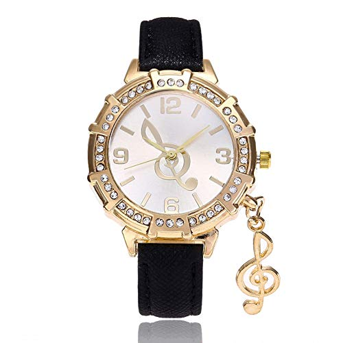 BEIBEILE Uhr Women's Watch Personality Music Symbol Pendant Watch Female Flash Powder Belt Diamond Gold Shell Women's Fashion Watch Gift Table