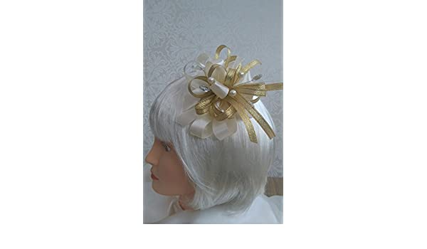 Gold shimmer fascinator with pearls /& clear jewels croc clip//head band