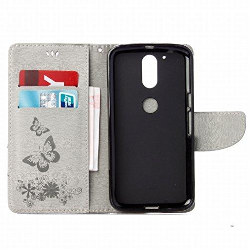 LEMORRY Motorola Moto G4 Custodia Pelle Cuoio Flip Portafoglio Borsa Sottile Fit Bumper Protettivo Magnetico Chiusura Standing Card Slot Morbido Silicone TPU Case Cover Custodia per Motorola Moto G4,  Grigio