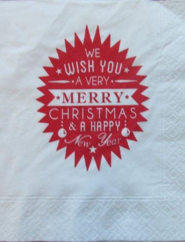 Let It Snow White Christmas Serviettes 40cm 2Ply 8-Fold Tableware Napkins