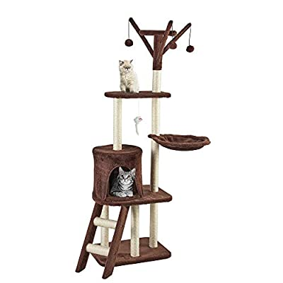 Your Home Deluxe 4 Tier Cat Tree Tower Scratching Post Pet Activity Centre with Bed, Lounger & Stairs by Clifford James