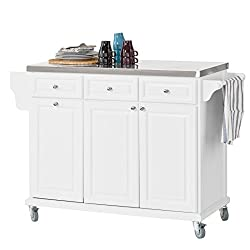 SoBuy FKW33-W, Luxury Kitchen Trolley with Large Storage Cabinet, Kitchen Island with Stainless Steel Worktop, White