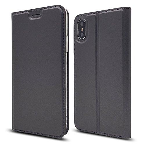 Eximmobile Nokia 2.1 Handytasche + Bildschirmschutzfolie Slim Brieftasche in Grau mit Kartenfach Schutzhülle Tasche Book Style Case Cover Silikonhülle Folie Etui Hülle mit Schutzfolie Handyhülle