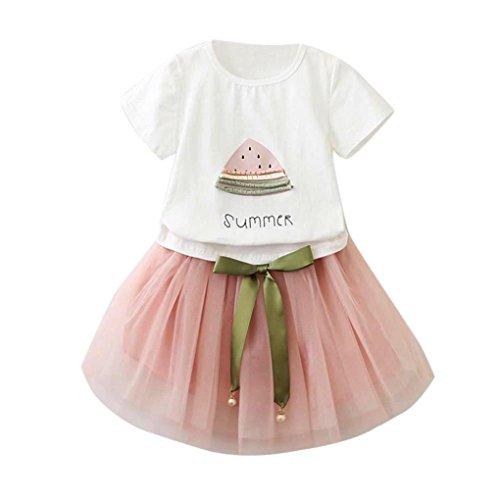 Bekleidung Longra Sommer Baby Kinder-Mädchen-Mode-Cartoon Kätzchen wenig bedruckten Kurzarm T-Shirt-Kleid Tutu Kleider Sommerkleid (2-6Jahre) (110CM 3-4Jahre, Pink (Wassermelone (Baby Kostüm Schwarze Kätzchen)