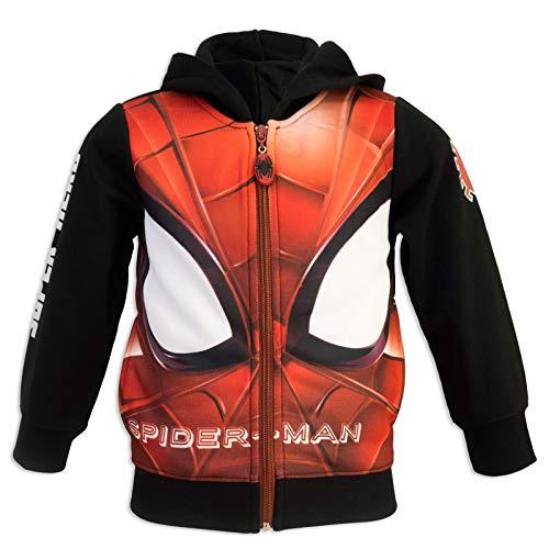 Marvel Spider-Man - Felpa Premium con Cappuccio Maschera Zip e Tasche - Full Print - Bambino - Novità Prodotto Originale 0331HR [Nero - 8 anni - 128 cm]