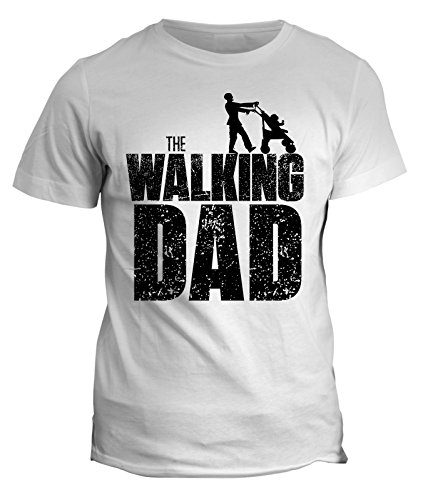 Tshirt Festa del papà -The Walking Dad- Happy father's day - in cotone by Fashwork Bianco