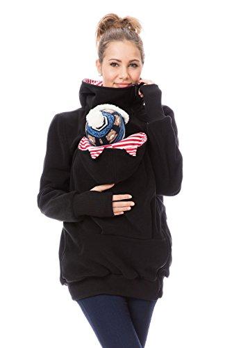 GoFuture Damen Tragejacke für Mama und Baby Känguru Klassiker Viva mit Öhrchen GF2301XM5 Schwarz mit rotweißen Streifen Gr. 42