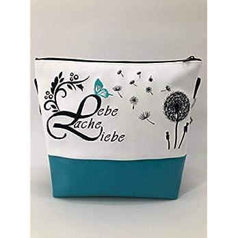 Handtasche Lebe Liebe Lache Pusteblume türkis Schultertasche/Umhängetasche *bestickt