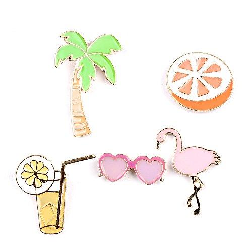Onnea Enamel Feiertags Sets Obst Orangensaft Palme Flamingo Revers Brosche Pin Abzeichen für Frauen Schmuck