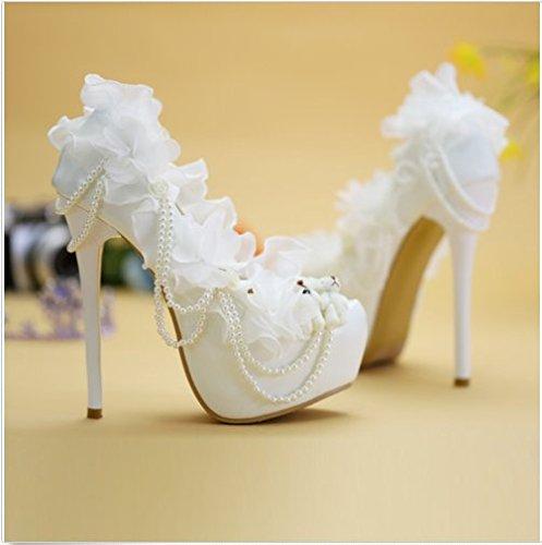 XINJING-S Frauen High Heel Stilettos Blumen Perle Braut Hochzeit Schuhe Pumpe Spitze Partei Weiß, 8 cm