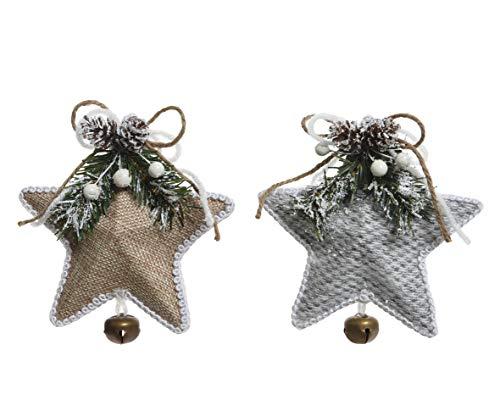 Winter Woodland Weihnachtsbaumschmuck, Stern, natürlich, mit Tannenzapfen und Mistelzweig, 13 cm, Weiß (Winter-kranz Sackleinen)