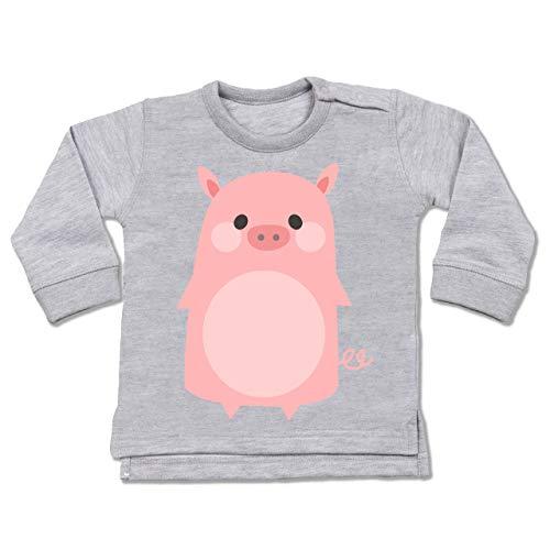 Kostüm Babys Schweinchen - Shirtracer Karneval und Fasching Baby - Fasching Kostüm Schweinchen - 6-12 Monate - Grau meliert - BZ31 - Baby Pullover