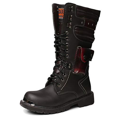 MAKAFJ Herren Wanderschuhe Militärische Taktische Kampfstiefel Damen Trekkingschuhe High Top Walking Climbing Sneakers,Black-42 -
