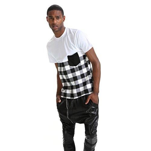 Pizoff Unisex Hip Hop Langes T-Shirt mit Karo Druckmuster Saum Reißverschluss P3240-white
