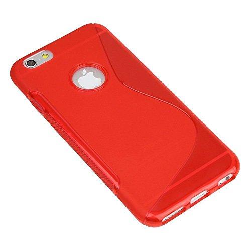 Rouge S Line Wave Soft coque en Gel TPU Etui Housse Coque Arrière pour Apple iPhone 4S