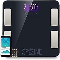 Báscula Escala de Grasa Corporal con Bluetooth y App para Andriod e iOS, Cozzine Báscula de Baño Digital, 20 Mediciones.