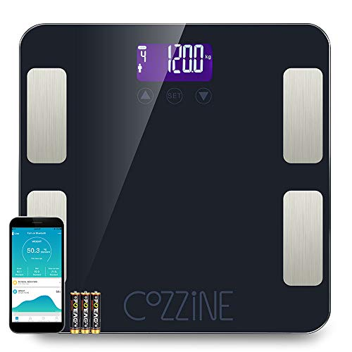 Báscula Escala de Grasa Corporal con Bluetooth y App para Andriod e iOS, Cozzine Báscula de Baño Digital, 20 Mediciones De Salud Básicas, Báscula Electrónica Inteligente - Alta Precisión