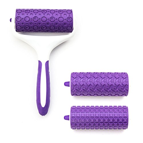 Lantelme 5741 Silikon Teigroller - Fondant mit 3 Einsätzen in Aufbewahrungsbox Kunststoff Farbe weiss - violett