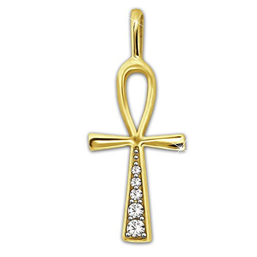 CLEVER SCHMUCK Goldener Anhänger kleines Ägyptisches Kreuz 19 mm ANCH glänzend mit 5 Zirkonias übereinanander verziert 333 GOLD 8 KARAT