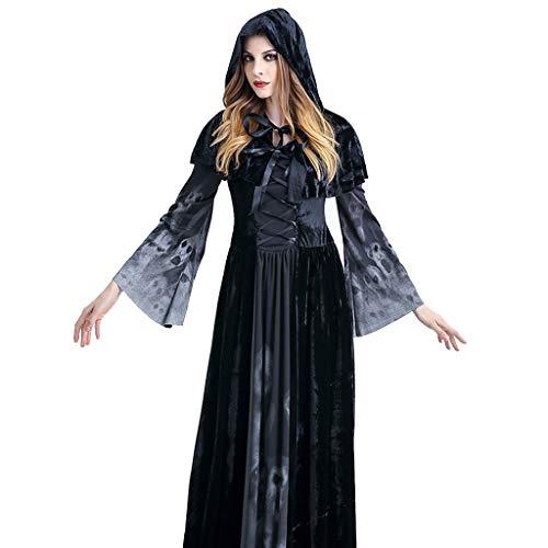 Black Mit Kapuze Robe Kostüm - VVcostumes Womens Cosplay Kostüm Halloween Black Ghost Witch Umhang Kleid Outfit mit Kapuze Robe (Size : S)