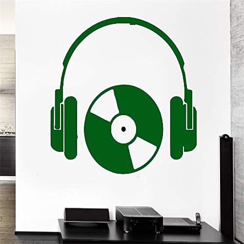 Hip Hop Stil Kopfhörer Musik Serie Wandaufkleber Vinyl Cool Rock Kopfhörer Mit CD Kunst Design Wandbild Aufkleber Kunst Poster 28 * 43 cm -