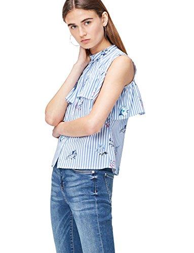 FIND Bluse Damen mit Off-Shoulder-Design und Volant, Blau (Blue Stripe Floral), 40 (Herste Preisvergleich