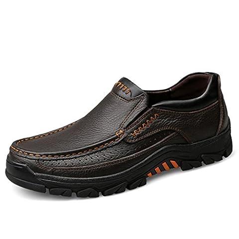 FADACAI Herrenlederschuhe Arbeitsschuhe Outdoor Schuhe Gezeitenschuhe Kortex 9088FD , Brown , 46