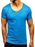 BOLF 3C3 - Maglietta da Uomo in Tinta Unita, con Scollo a V, Uomo, 2309, Blue (Light)_2309, L