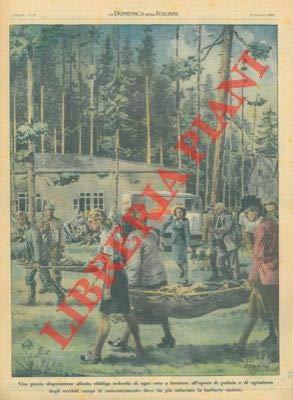 Una disposizione alleata obbliga i tedeschi di ogni ceto a lavorare all'opera di pulizia dei campi di concentramento.
