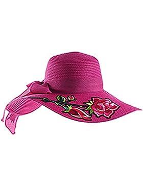 Ourdream Sombrero plegable del sombrero-sombrero de la playa - flores bordadas