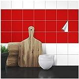 Wandkings Fliesenaufkleber - Wähle eine Farbe & Größe - Rot Seidenmatt - 9,6 x 9,6 cm - 20 Stück für Fliesen in Küche, Bad & mehr