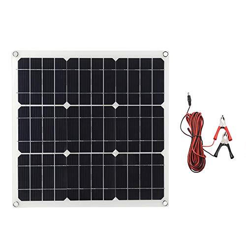 30W Flexibles Solarpanel +4 m Clipkabel, Solar Ladegerät Monokristalline Solarmodule Solaranlage für Autobatterien Autos Wohnmobile Boote 18V Batterien, 30 Grad gebogen