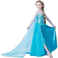 Vestito Frozen Bambina Dress Carnevale Costume Bimba childen Blu 8120