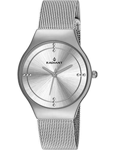 Reloj Radiant para Mujer con Correa Plateada y Pantalla en Blanco RA404601