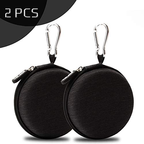 Mini Kopfhörer Tasche mit Schnalle, YOLOCE Headset ohrhörer Schutztasche für In Ear Ohrhörer, MP3 Player, iPod Nano, Schlüssel, Lovely Macarons Aussehen (Round-Schwarz) - 2er Pack -