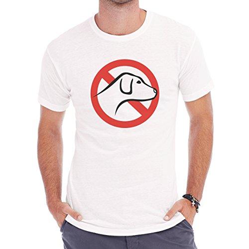 Sign No Dogs Allowed Red Herren T-Shirt Weiß