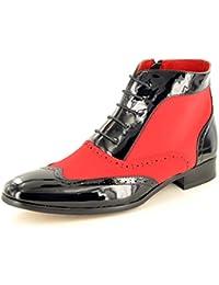 Herren Leder gefüttert Patent Glänzend Vintage Zank Gatsby Brogue Stiefel