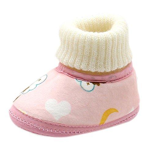 i Babyschuhe, Switchali Affe-Druck Baby Stiefel weiche Sohle Prewalker Lauflernschuhe Krippeschuhe Winter Stiefel Rosa