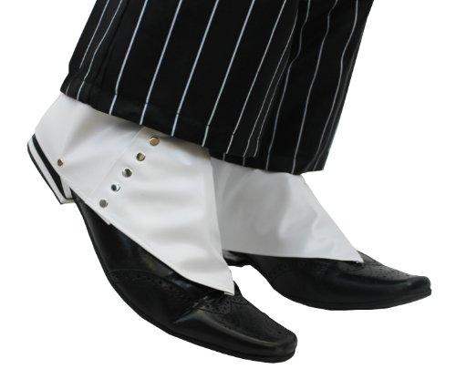 ster-Faschingszubehör Gamaschen Weiß Mit Silbernem Knopf Kostümzubehör im Stil der 1920er ()