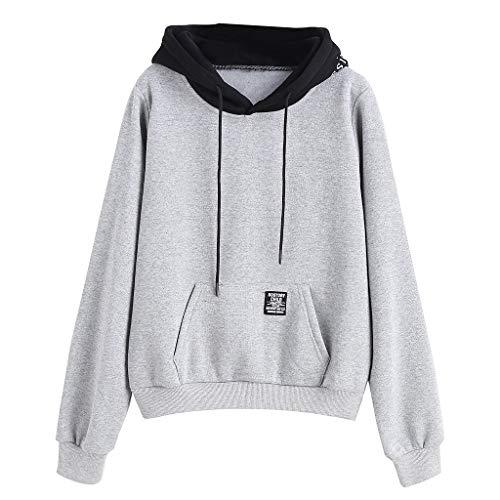 LEXUPE Frauen Langarm Tasche Patchwork Pullover Riemchen Hoodie Sweatshirt Bluse Pullover Pulli Hoodie Tops